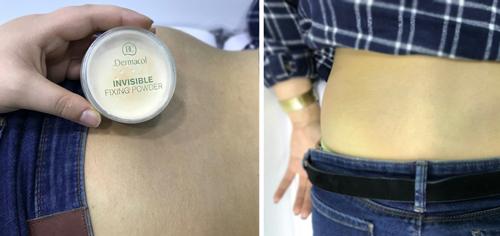 Cobrir Tatuagem - Passo 3 - Aplicação do pó de fixação Dermacol Invisible Fixing Powder